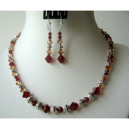 Sunset Siam Red Copper Crystals Bali Silver Party Jewelry Necklace Set