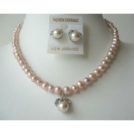 Handcrafted Freshwater Pearls Peach Necklace Set Stud Pendant Earrings