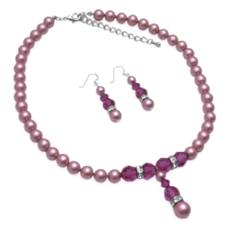 Handcrafted Necklace Swarovski Rose Pearls & Fuchsia Crystals Jewelry