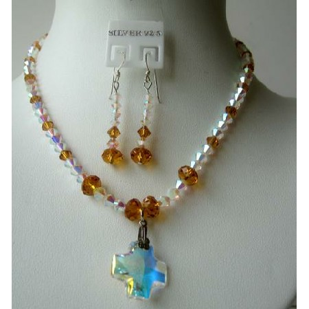 Formal Party Jewelry Swarovski Topaz AB Crystals Cross Pendant