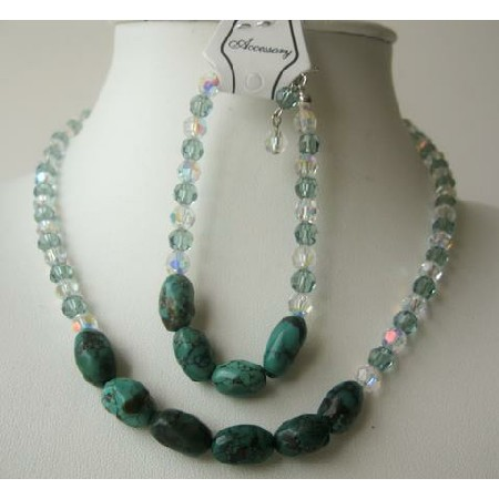 Swarovski Erinite AB w/ Tibet Spiderweb Green Stone Necklace Bracelet