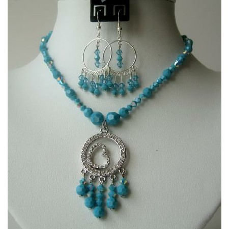 Swarovski Crystals AB Turaquoise Handcrafted Necklace Set CZ Pendant