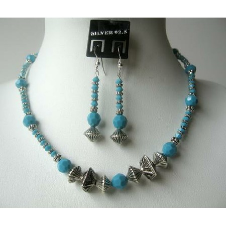 Classic Tribal Ethnic Turquoise Crystals Beads Necklace Set