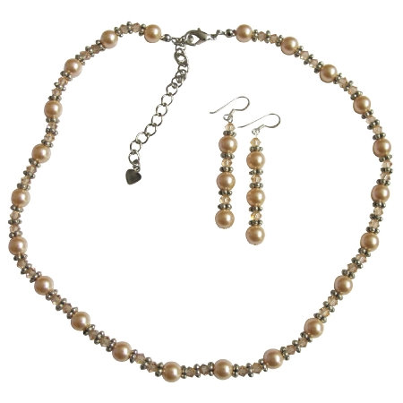 Ethnic Necklace Set Swarovski Peach Pearls Crystals Bali Silver Beads