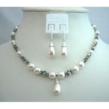Swarovski Jewelry White Pearl Volcano Crystal Necklace Set Bali Silver