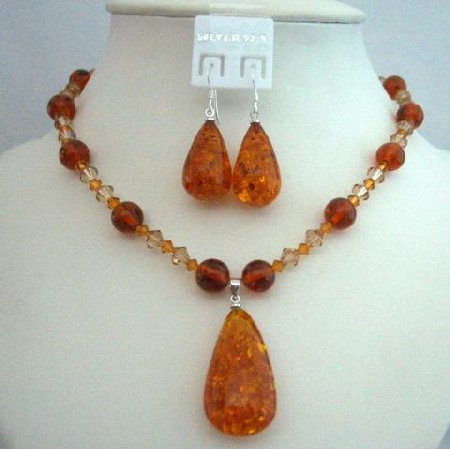 Evening Party Jewelry Swarovski Topaz Crystals Necklace Amber Pendant