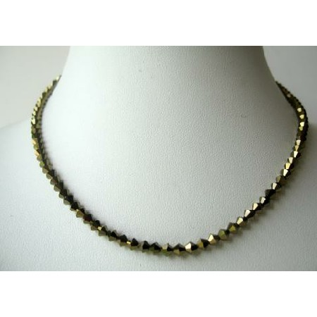Sparkling NEW Swarovski Dorado Crystals String Necklace Expresso Color