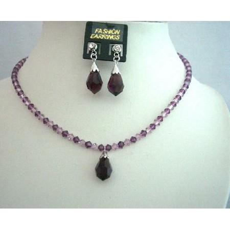 Swarovski Amethyst Crsytal Jewelry Handcrafted Custom Crystals Jewelry