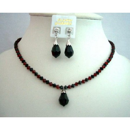 Fashion Jewelry Handcrafted Custom Jet & Siam Red Crystals Necklace