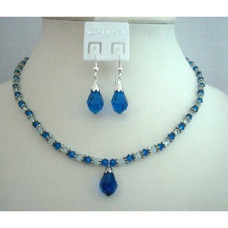 e633c6c118ff6 Handcrafted Custom Jewelry Swarovski Capri Blue Crystals Necklace Set