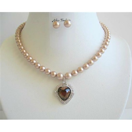 Champagne Jewelry Swarovski Pearls Earrings w/ Crystals Pendant
