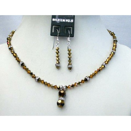Cute Jewelry Swarovski Dorado Bicone Crystals Custom Necklace Set