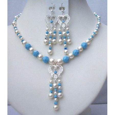 Turquoise & Cream Swarovski Pearls AB Turquoise Bead Necklace Earrings