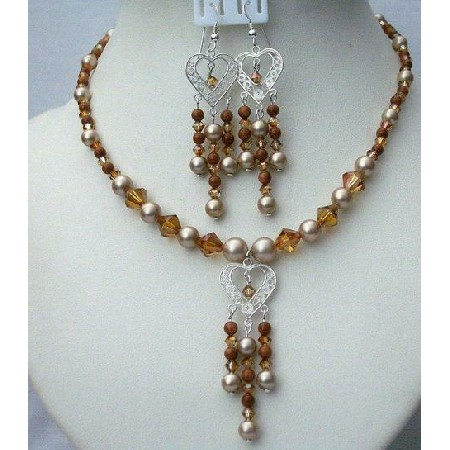 Powder Almond Pearls Pendant Earrings Copper Crystals Goldstone Beads