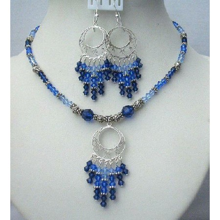 Swarovski Jewelry Multi Color Of Sapphire Crystals w/ Bali Silver