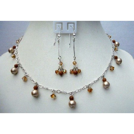 Powder Almond Pearls Swarovski Smoked Topaz Satin Crystals Gold Beads