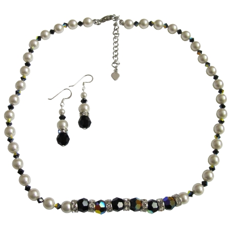Swarovski White Pearls AB Jet Crystals Jewelry Necklace Sets