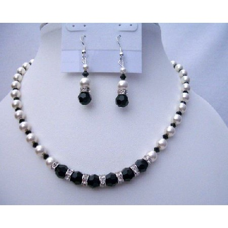 Swarovski Jet Crystals White Pearls Jewelry Fine Necklace Sets