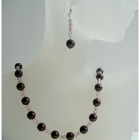 Handmade Meroon Swarovski Pearls & Vintage Rose Crystals Necklace Set