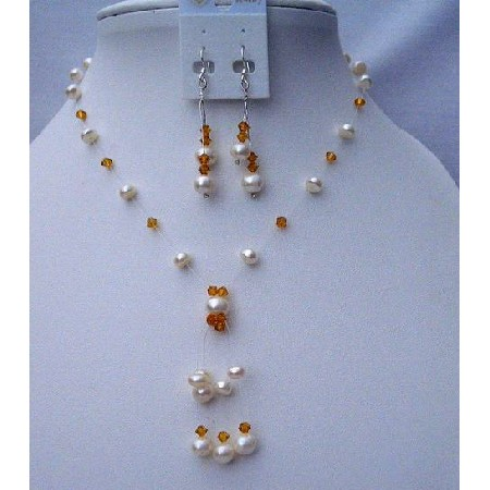 Topaz Crystals w/ Freshwater Pearls Tassel & Swarovski Necklace Set