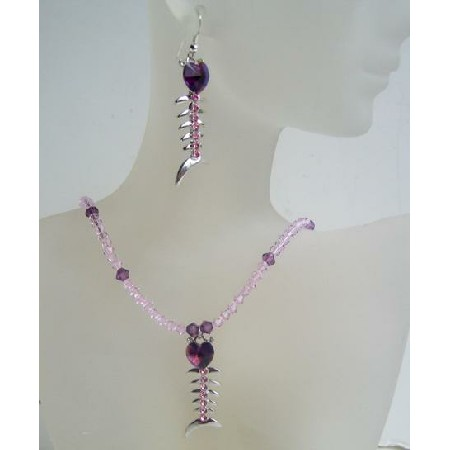 Custom Swarovski Amethyst Bicone Crystals Fish Heart Pendant Earrings