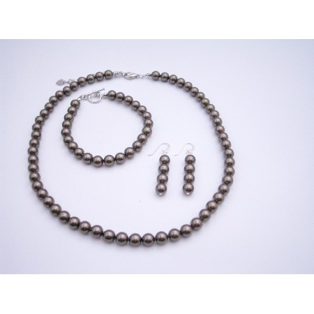 Brown Pearls Jewelry 7mm Swarovski Brown Pearls Necklace Set Bracelet