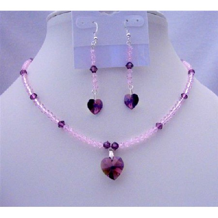 Amethyst Crystals Heart Pendant & Earrings Swarovski Beaded Jewelry