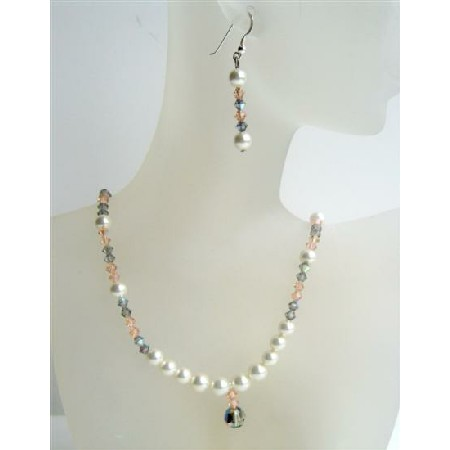 Custom Jewelry Swarovski White Pearls Peach Crystals Neckace Set