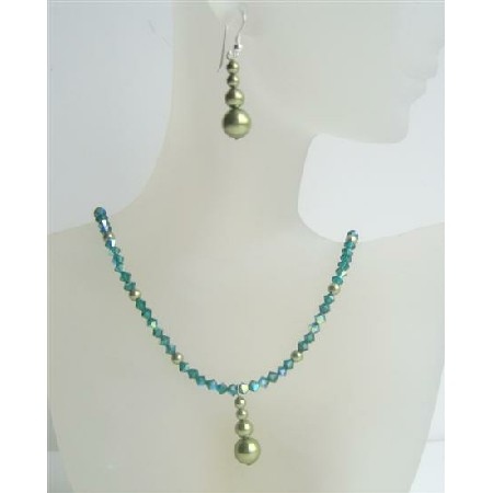 Swarovski Emerald AB Crystals Necklace w/ Green Pearls Silver Earrings