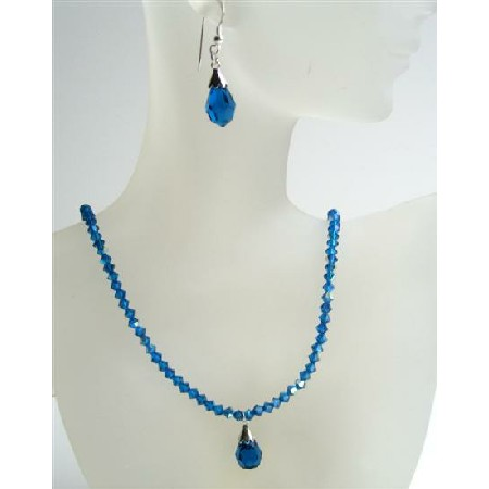 Swarovski Crystals Jewelry Dark AB Sapphire Tear Drop Pendant Earrings