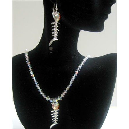 Swarovski AB Crystals Pendant Necklace Set Custom Handmade Jewelry