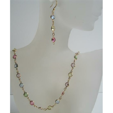 Multi Colroed Swarovski Cyrstal Handmade Jewelry w/ 22k Gold Plated