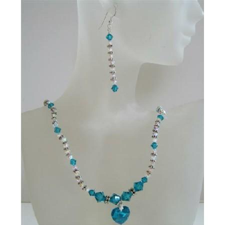 Custom Swarovski Crytal Blue Zircon AB 2X Zircon Heart Pendnat Jewelry