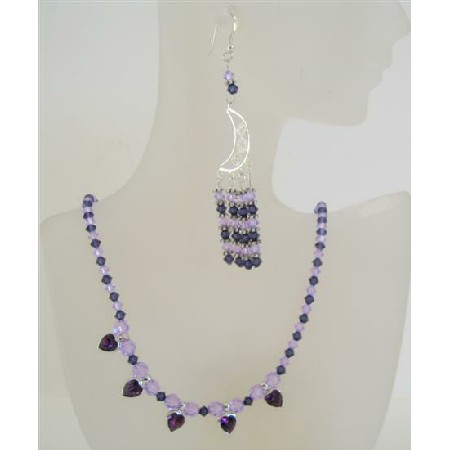 Swarovski Crystals Violet Purple w/ Bali Silver Heart Pendant Necklace