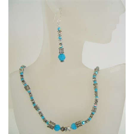 Turquoise Ethnic Jewelry Swarovski Volcano Turquoise Bead Necklace Set