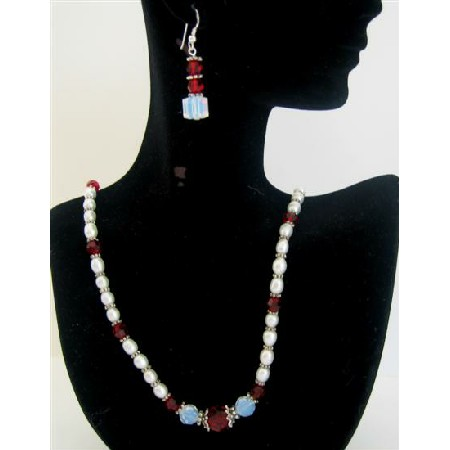 White Opal Crystals Freshwater Pearls Siam Red Swarovski Necklace Set