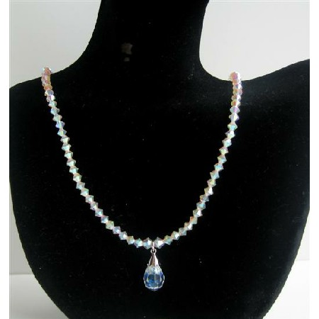 Crystals Swarovski AB 2X Necklace AB Crystal Teardrop Jewelry Necklace