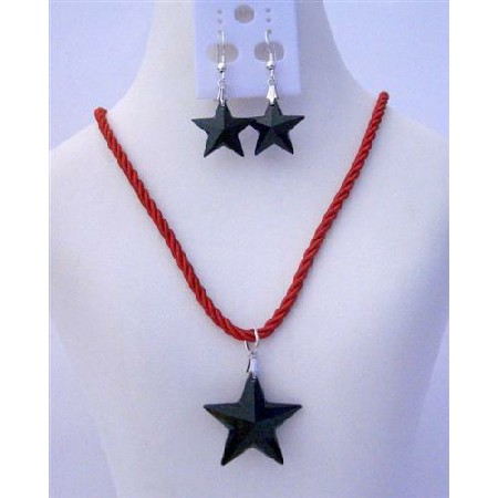 Swarovski Crystals Jet 20mm Faceted Star Pendant Necklace Earrings Set