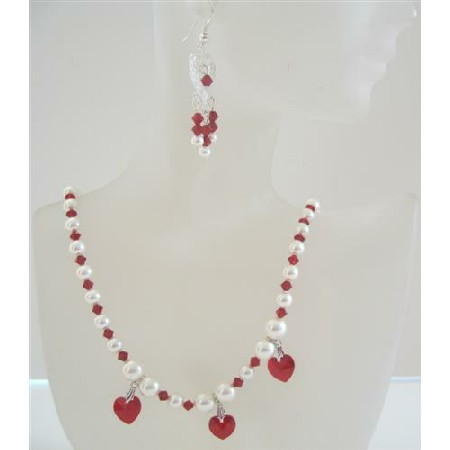 Swarovski Siam Red Crystals Heart Necklace Set Cream Pearls Earrings