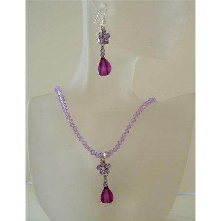 Violet Swarovski Jewelry Set Crystals Necklace Set w/ Pendant