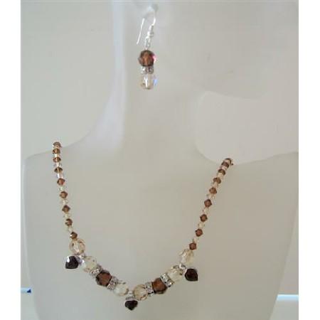 Smoked Topaz Crystals Ceylon Topaz Handcrafted Swarovski Jewelry Set