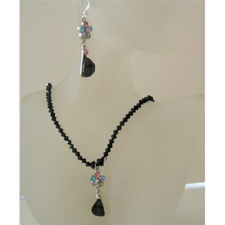 Black Swarovski Crystals Jewelry Jet Sparkling Necklace Set w/ Pendant