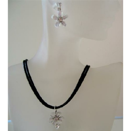 Opal Crystals Jewelry Black chord White Flower Pendant Necklace Set