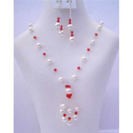 White Pearls Gernuine Swarovski Siam Red Crystals Tassel Drop Necklace