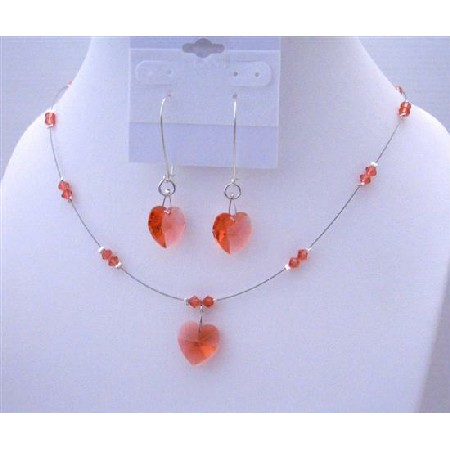 Padparadscha Crystals Swarovski Crystals Heart Necklace Set