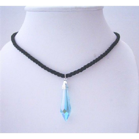 Cylindrical Pendant Swarovski Aquamarine Crystals Black Chord Necklace