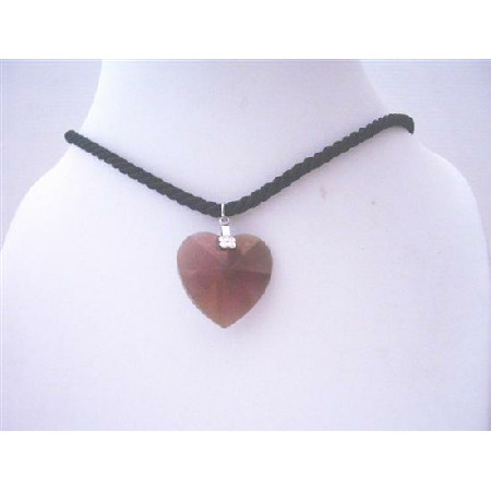 Garnet Heart Pendant Necklace Swarovski 28mm Xilion Heart Pendant