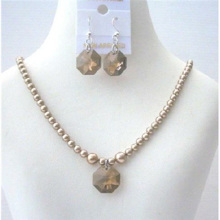 Flower Girl Jewelry Bronze Pearls Smoked Topaz Crystal Octagon Pendant