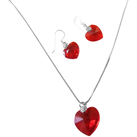 Lite Siam Red Crystals Xilion Heart Valentine Necklace Earrings Set