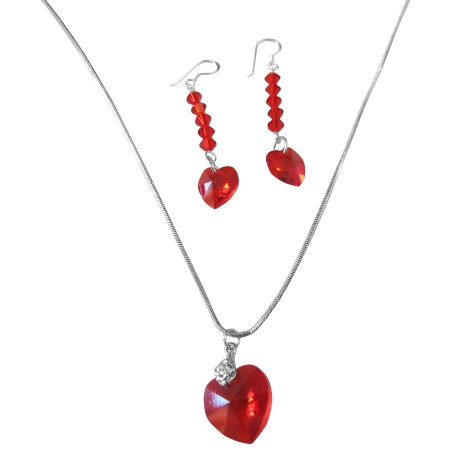 Red Siam Crystals Heart Pendant & Earrings Swarovski Heart